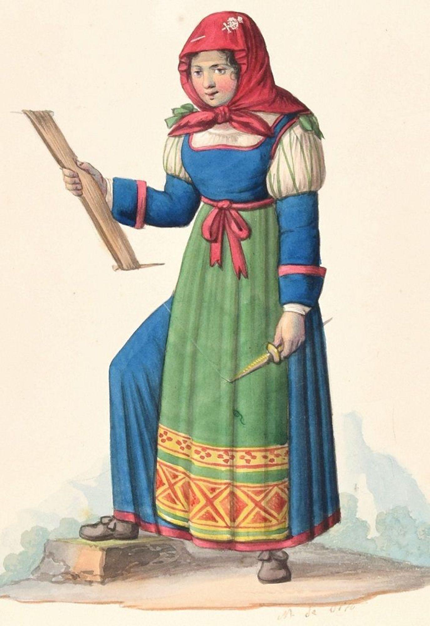 Woman in Costume  - Original Ink Watercolor by M. De Vito - Early 1800