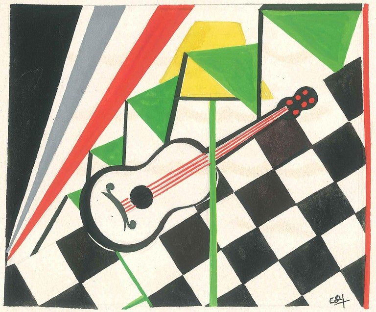 Guitar - Original Tempera on Paper by Esy Beluzzi - Mid 20th Century For Sale 1