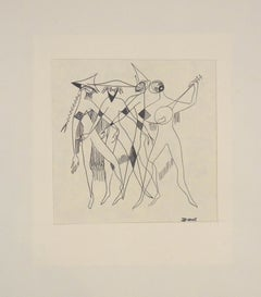 The Party - Original Ink Drawing on Paper by Buscot