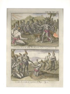 Ceremonies of a Floridian King - Etching by G. Pivati - 1746-1751