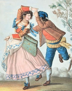 The Dance - Original Ink and Watercolor by Unknown Artist 19th Century