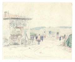 VII Prise de Mon Bureau - Origina Pencil Drawing a Watercolor 1914