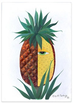 Pineapple - Original Tempera on Paper by Esy Beluzzi - 1977