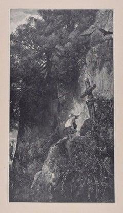 Der Büsser - Original Woodcut by J.J. Weber - 1898