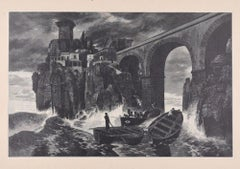 Pirates attack the Castle on the Sea - Original Woodcut by J.J. Weber - 1898