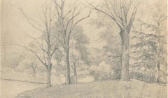 Trees on the Hill - Charcoal by E.-L. Minet - Early 1900