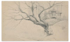 Tree and House - Charcoal by E.-L. Minet - Early 1900