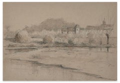Village on the River - Pencil, Charcoal and Watercolor by E.-L. Minet-Early 1900
