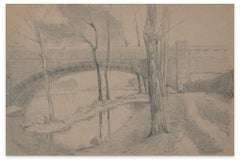 Bridge on the River - Charcoal and Pencil by E.-L. Minet - 1919