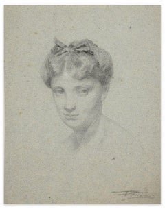 Portrait of Woman - Original Charcoal Drawing by Unknown French Artist - 1800