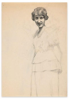 Portrait of Smiling Girl - Original Charcoal Drawing by French Artist Early 1900