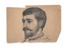 Portrait of Young Man - Original Charcoal Drawing by French Artist - 1882