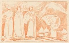 Sur la Grève - Original Lithograph by L. von Hoffmann - 1910 ca.