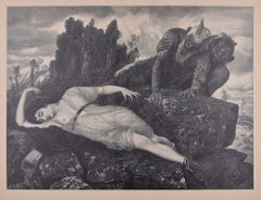 Sleeping Diana - Original Woodcut After J.J. Weber - 1898