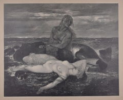 Triton and Nereid - Original Woodcut After J.J. Weber - 1898