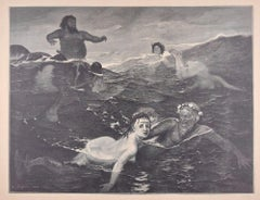 In the Game of Waves - Original Woodcut by J.J. Weber - 1898