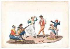 Tarantella  - Original Watercolor by M. De Vito - 19th Century