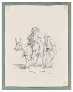 Farmers - Original Ink Drawing 19th Century