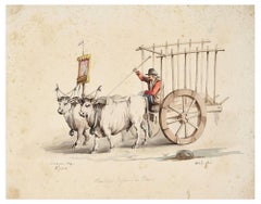 Chariot - Original Ink and Watercolor - 19th Century