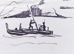 Gondola - lack Marker Drawing on Paper - Mid 20th Century