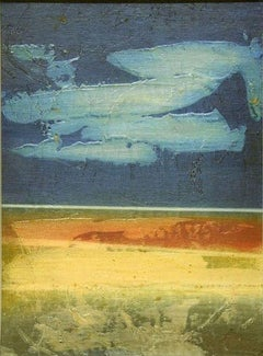 Blue Horizon - Original Mixed Media by Mario Sinisca - 1960s