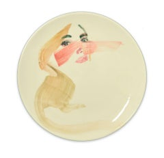 Lady - Original  Hand-made Flat Ceramic Dish by A. Kurakina - 2019