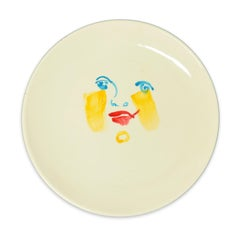 Yellow Brush - Original  Hand-made Flat Ceramic Dish by A. Kurakina - 2019