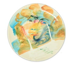 Golden Ringlets - Original  Hand-made Flat Ceramic Dish by A. Kurakina - 2019