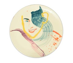 Smiling Woman - Original  Hand-made Flat Ceramic Dish by A. Kurakina - 2019