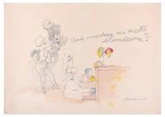 Quale maschera mi metto stamattina? - Pencil and Watercolor by M. Maccari