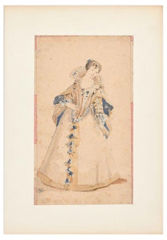 La Belle Dame - Pencil and Watercolor by Unknown French Artist 19th Century