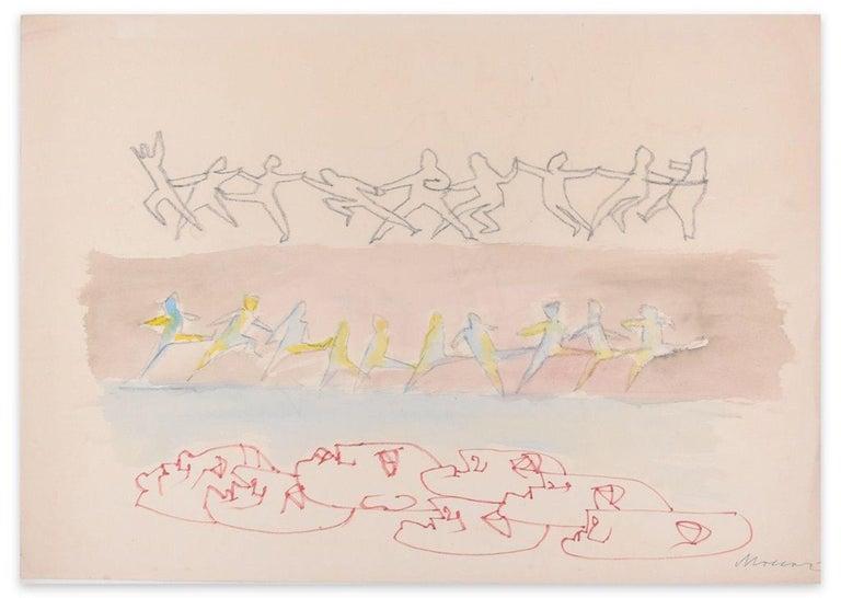Mino Maccari Figurative Art - Parade - Original Charcoal, Red Marker and Watercolor by M. Maccari - 1970s
