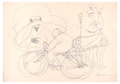 Man on a Bicycle - Original Charcoal Drawing by M. Maccari - 1970s