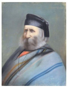 Portrait of Old Giuseppe Garibaldi - Chalk, Charcoal and Oil Pastels - 1880
