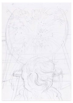 Magic Circle - Original Pencil Drawing by E. Berman - Mid 20th Century
