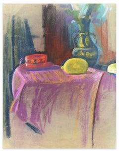 Still Life with Lemon and Hat - Oil Paste and Chalk Drawing - Late 19th Century