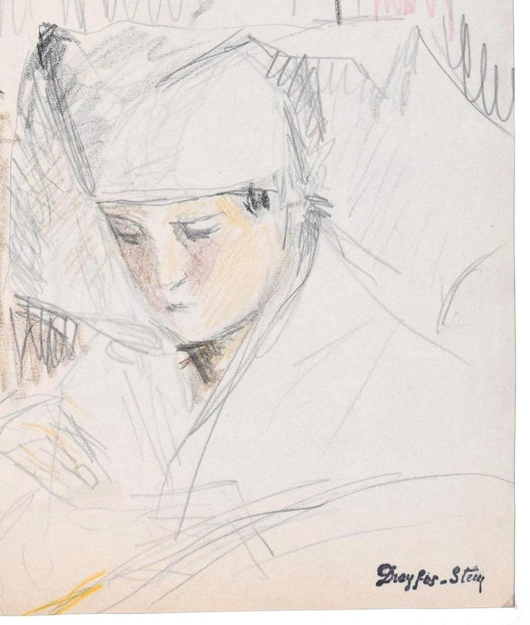 Portrait of Boy - Pencil and Pastel on Paper by J. Dreyfus-Stern  1