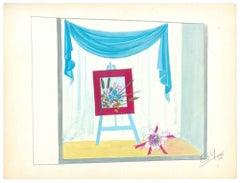 Atelier - Original Tempera on Paper by Esy Beluzzi - 1958