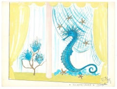 Seahorse - Original Tempera on Paper by Esy Beluzzi - 1959