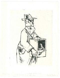Blind Man - Original Etching by A. Ruellan - Mid 20th Century