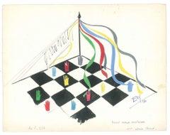 Chessboard - Original Tempera on Paper by Esy Beluzzi - 1956