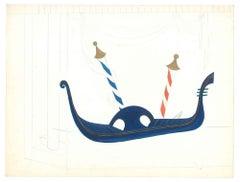 Gondola - Original Tempera on Paper by Esy Beluzzi - 1950s