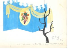 Gondola - Original Pencil and Tempera on Paper by Esy Beluzzi - 1958