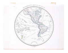 Hemisphere Of The New Continent - Ancient Map by J.G. Heck - 1834.