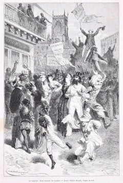 Le Carnaval - Original Woodcut Print After Emile Bayard - 1880