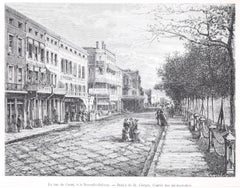 La Rue du Canal - View of New Orleans - Woodcut Print After Hubert Clerge - 1880