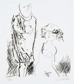 The Couple - Original Etching by by A. Ciarrocchi - 1970 ca.