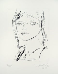 Anna's Portrait  - Original Etching by by A. Ciarrocchi - 1966