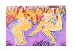 Two Women Of The Forest - Original Lithograph by Stefania Guidi - 1993