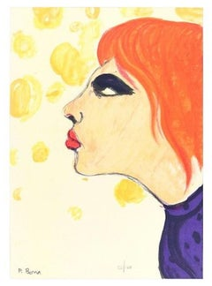 Woman In Red - Original Lithograph by P. Borra - 1973